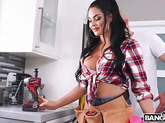 Busty sexy plumber babe is fucked by bald headed guy with big dick J Mac