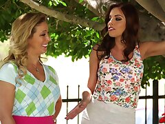FFM threesome just about HOT cougars Britney Amber and Alyssa Lynn