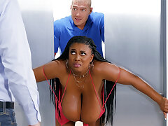 Stuck huge-chested black screwed phony by custodian