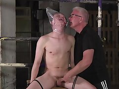 BDSM fetish video with blithe dude torturing their naughty friends
