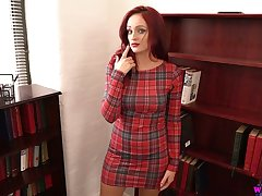 Red haired milf Georgie Newman gets unfurnished and plays with their way pierced nipples