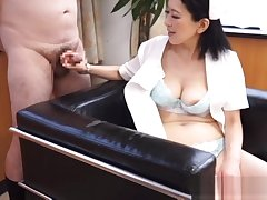 Naughty mature Asian nurse enjoys successfully hot handjob at work