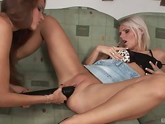 Silvie Deluxe and Mia E pounded with black dicks forth a foursome