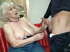 Chubby mature blonde whore Norma is actually good at riding fat cock