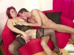 Step-Mature have lovemaking her 18yr aged German Step-Son as the crow flies Dad away