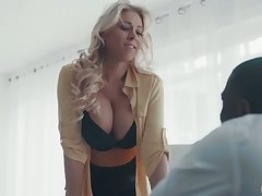 Mega busty scrivener Katie Morgan gives a blowjob and goes black for the first time