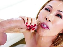 horny dude adores thither cum in Kianna Dior's indiscretion after a blowjob