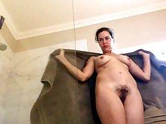 Alluring brunette girl shower & upskirt spycam