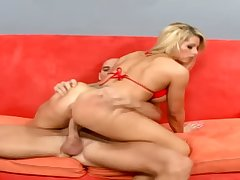 Bikini battle-axe with heavy booty gives BJ and gets poked doggy hard enough