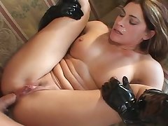 Big racked whore in black high boots Aria Noir wanna get their way holes drilled