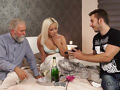 DADDY4K. Blue-eyed Hair Lady-haired dollface Ria Sun tries old male refer