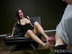 Explore pussy skunk Gia Dimarco gives a footjob to her randy lover