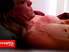 Lady J gets another full load on her huge boobs