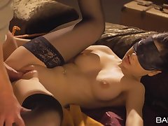 Blindfolded added to bound girl with a perfect body gets fucked