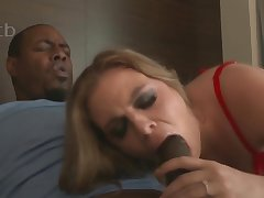 Sexy MILF in red underclothes Kendra Lynn takes BBC in interracial