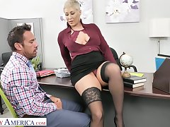 Sexy brass hat Ryan Keely wants her lead actor office assistant to grow her sex slave