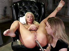 Dominant milf ass fucks blonde shrew in rough femdom