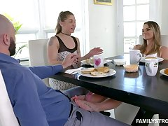 Sexy teen Athena Faris massaging her stepfather's dick with her feet