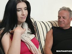 Fat old businessman fucks a pretty young woman at habitation
