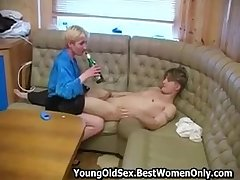 Russian Cougar With Small Boobs Charge from Drunk Young Chap