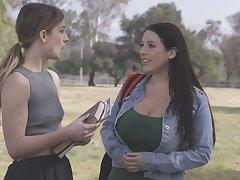 University hottie Kristen Scott lures campus wench for wettish lesbian sex