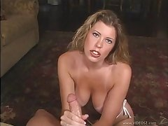 Derisory milf with big tits gives an endearing blowjob in a pov shoot