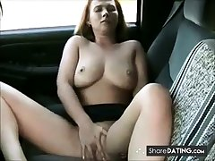 milf masturbation and orgasms close to the car.