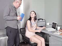 Tall cute coed Nikka Hill would rather study how almost fuck a man