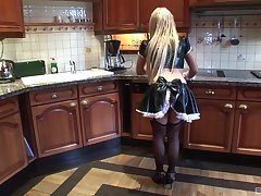 Kichen sex on the table with sexy blonde maid Non-reflective Gold