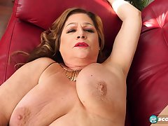Busty mature GILF with saggy tits Brenda Douglas - interracial hardcore with cumshot