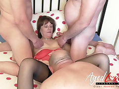 AgedLovE British Full-grown and Three Cocks Groupsex