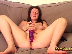 Busty MILF Playing with her Purple Dildo