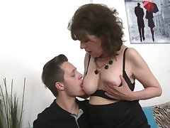 Mature amateur Harrietta in nylon stockings fucked by say no to neighbor