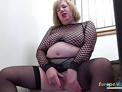 Solo british mature with huge knockers masturbation and sex toys awe