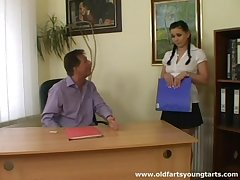 Old boss makes an offer to his horny cloudy secretary Alena