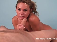 POV flick be advantageous to flaxen-haired cougar adjacent to small jugs giving a blowjob