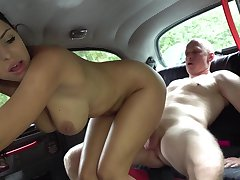 Insolent subfusc with natural tits, first fuck with a client