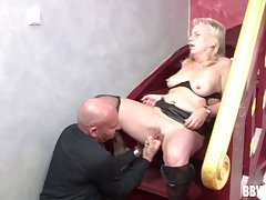 Wild fucking on the stairs the final blow an old bald dude with the addition of a mature slut