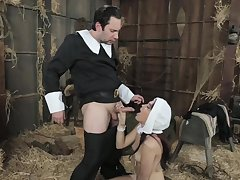 Amazing nun, Brooke is sucking a rock hard dick for be transferred to first time ever and affectionate it