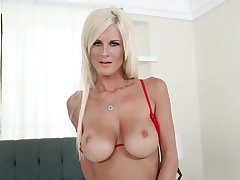 Hot Blonde MILF In Red Lingerie and Stockings Teases and Fucks Hubby