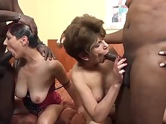 After they were kissing for a while, several nasty matures had sex with several black guys