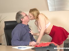 Young blonde Rebecca Black is having sexual intercourse fun with senior at hand his office