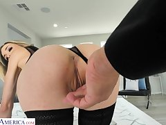Glamorous blonde in stockings Aiden Ashley is fucked in hot POV video