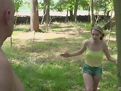 Outdoors fucking in the courtroom woods with amateur Lily-rose Ray