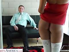 Delicious young blonde Heather Starlet is fucked by patriarch man