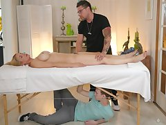 Instead of massage alluring curvy babe Sarah Vandella prefers to be thrilled by doggy