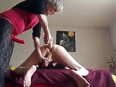 Dominant Granny Strapon Pegging Her Submissive Spouse