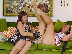 Sweet British women more a fine oral display on the couch