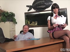 Lustful college chick gets all kinds of dirt on her old educator
