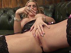 Solo hottie Tanya Cox takes off their way panties to masturbate. HD
